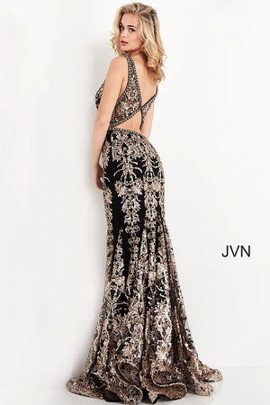 JVN04789 Black Gold Embellished Open Back Prom Dress