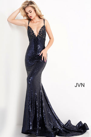 JVN05803 Navy Embroidered Tie Back Prom Dress