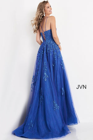 JVN06644 Spaghetti Strap Embroidered Prom Gown
