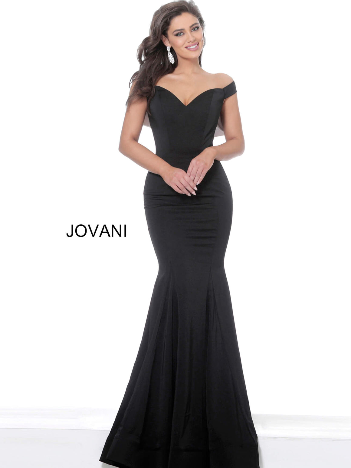 Jovani 3987 Black Off the Shoulder Mermaid Evening Dress