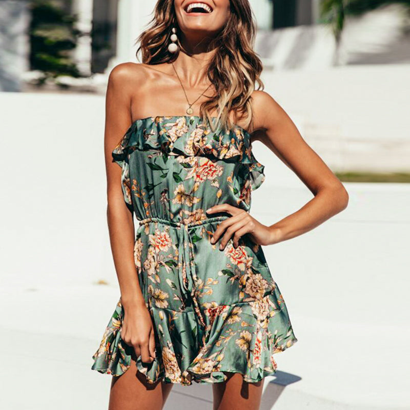 Mumbai playsuit- floral strapless playsuite
