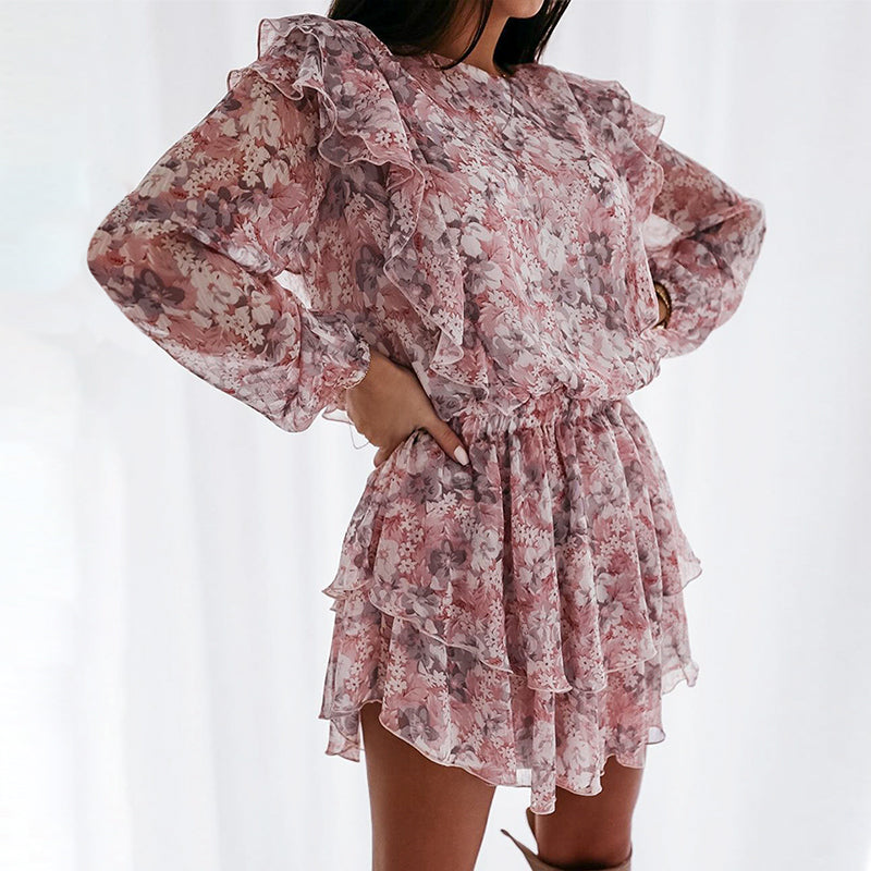 Doris dress- long sleeve floral mini dress