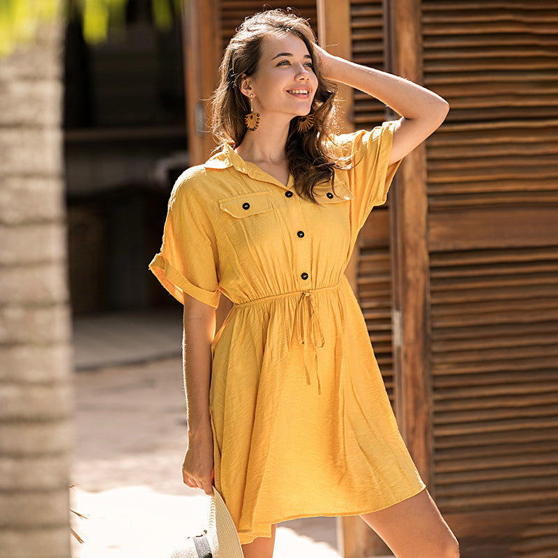 Casual solid banana mini dress
