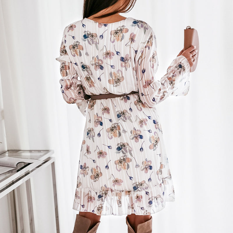 Samos dress- long sleeve floral mini dress