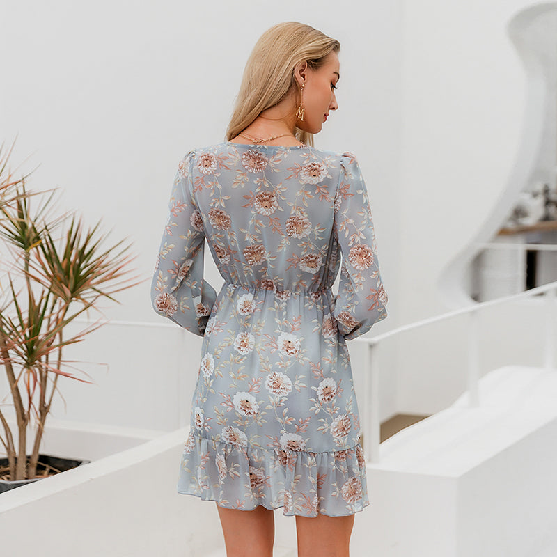 Lobelia dress- long sleeve floral mini dress