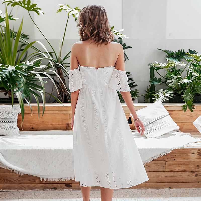 Elegant white off shoulder midi dress