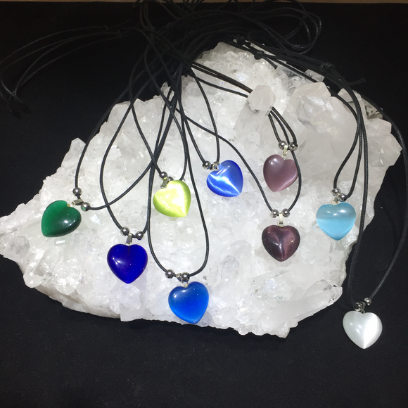 Cat's Eye Heart Necklaces