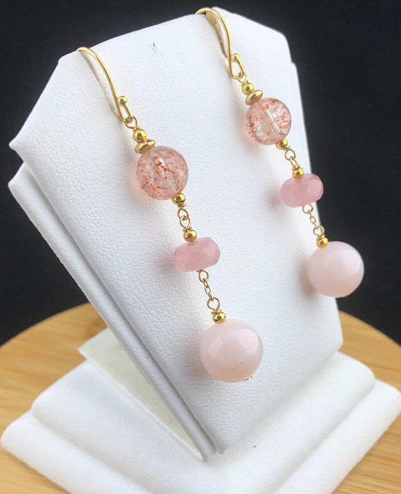 Pink Opal, Tourmaline and Cat's Eye Earrings