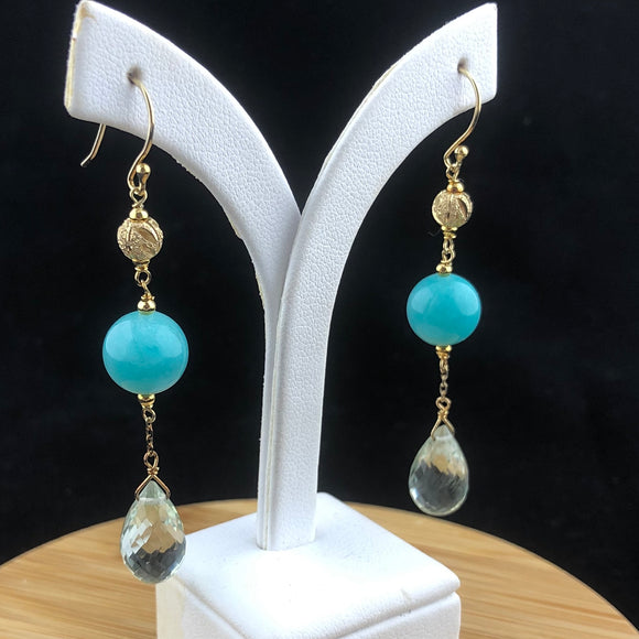 Amazonite and Green Amethyst Earrings