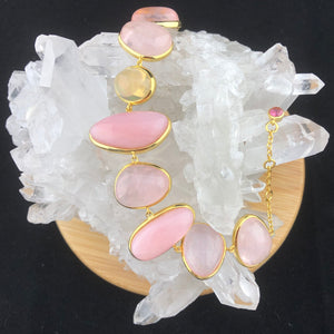 Eyhiopian Opal, Morganite and Pink Opal Bracelet