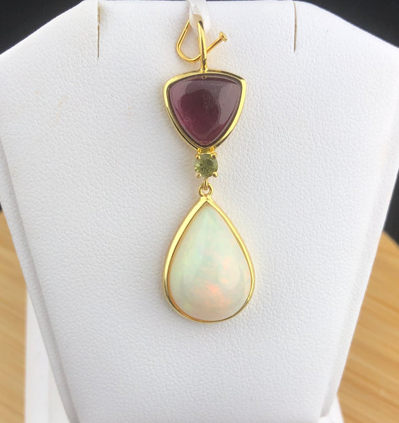 Ethiopian Opal and Rubylite Tourmaline Pendant