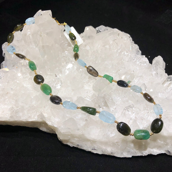 Tourmaline, Aquamarine and Emerald Necklace.
