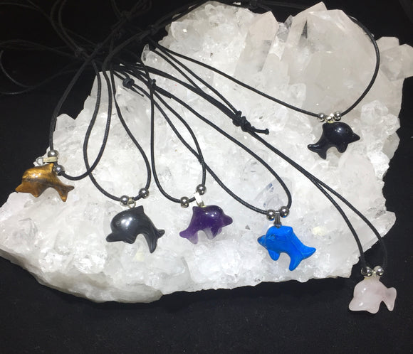 Gemstone Dolphin Necklaces