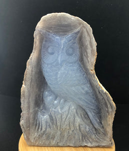 Blue Chalcedony Owl Carving