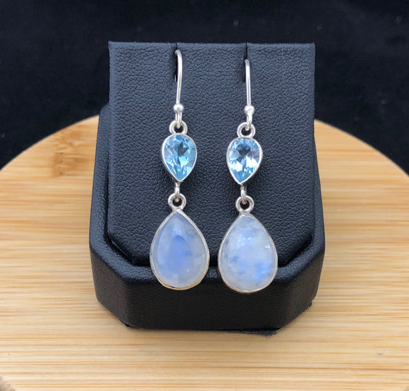 Moonstone and Blue Topaz Earrings                           MSE 15