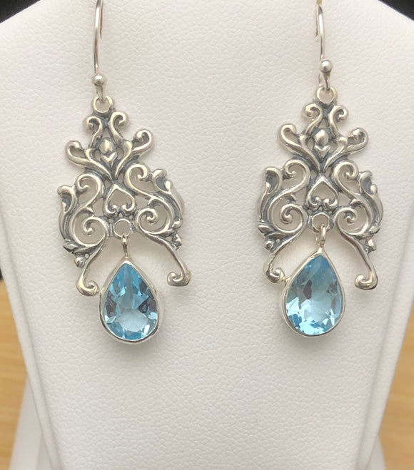 Blue Topaz Earrings   BTE 08
