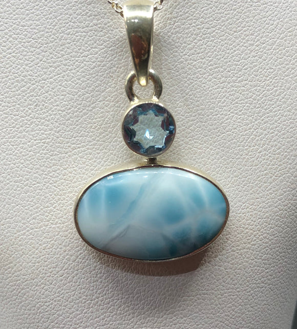 Larimar and Blue Topaz Pendant         OLP 09