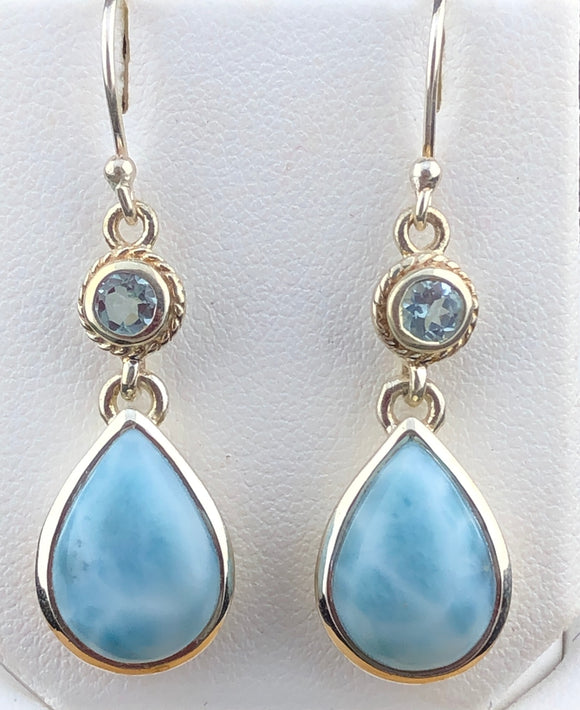 Larimar and Blue Topaz Earrings   OLE 01
