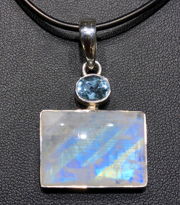 Moonstone and Blue Topaz Pendant                OLP 24