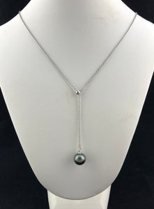 Tahitian Black Pearl Lariat Necklace