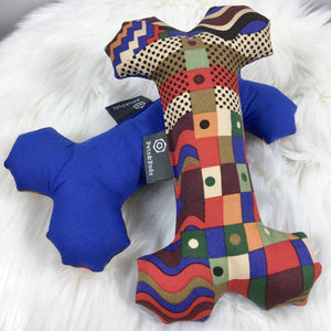 Dog Bone Squeaky Toy blue & abstract