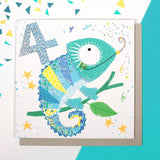 Chameleon Age 4 Birthday Card (6pcs)