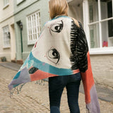 London Hand Painted Girl & Rabbit Scarf