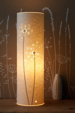 Tall Cylindrical Dandelion Clock Table Lamp