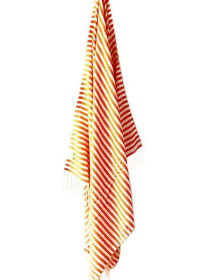 Orange Candy Striped Hammam Towel
