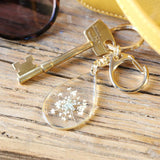 Pressed Real Flower Charm Keyring in Gold