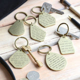 Sisters antique brass keyring