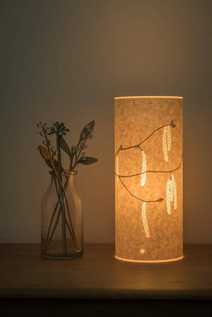 Small Cylindrical Hazel Catkins Table Lamp