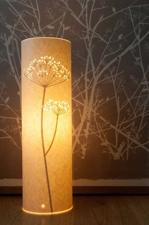 Tall Cylindrical Cow Parsley Table Lamp