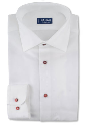 White Luxury Basket Weave Shirt | Panah London