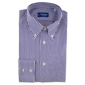 Navy Stripe Luxury Button Down Shirt | Panah London