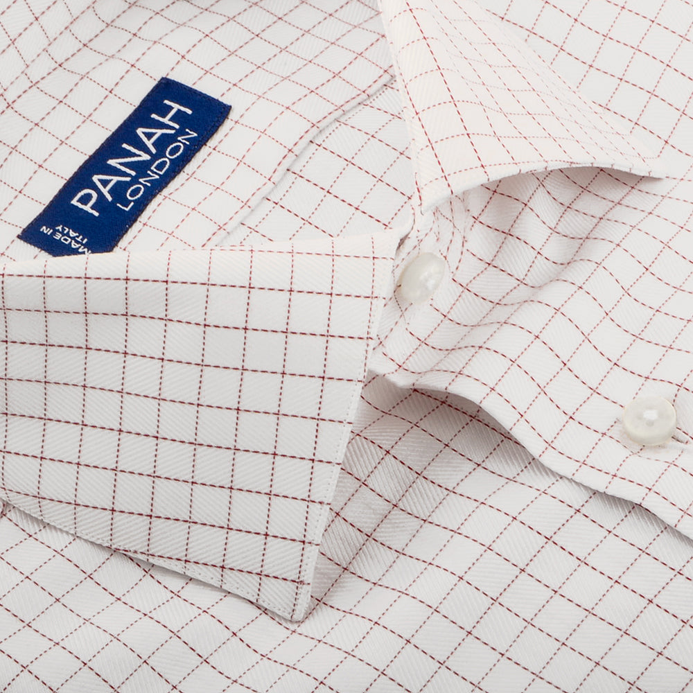 Wine Red Check Luxury Shirt | Panah London