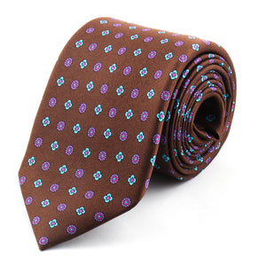 Brown Printed Silk Tie | Panah London