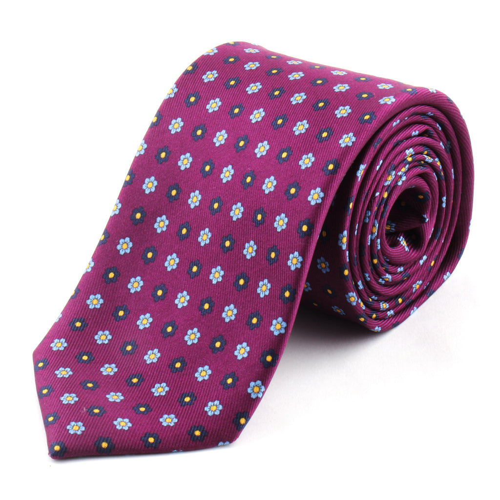 Purple Printed Silk Tie | Panah London