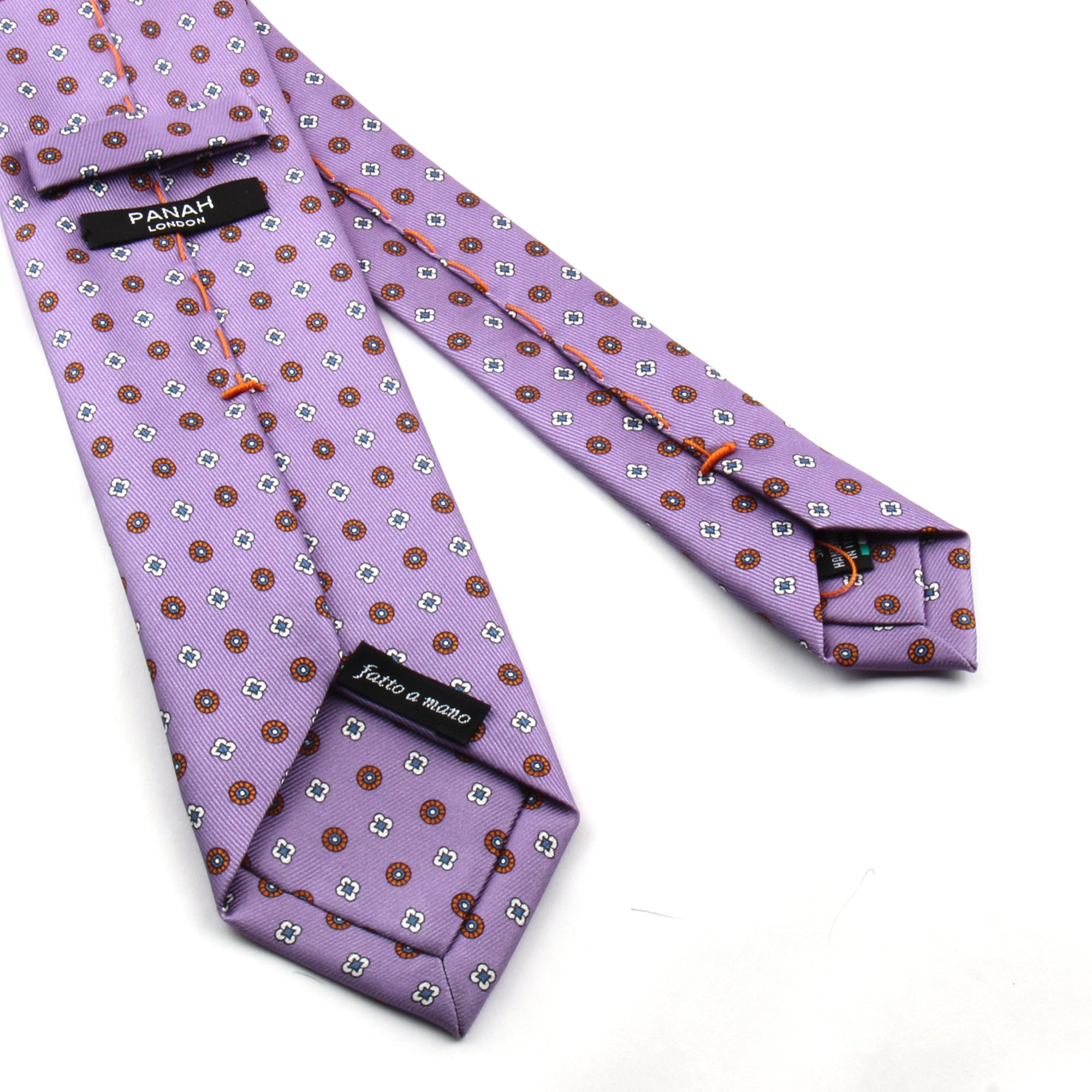 Lilac Printed Silk Tie | Panah London