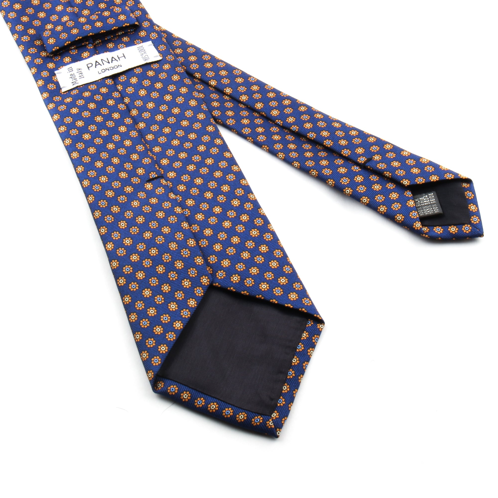 Blue Printed Floral Silk Tie | Panah London