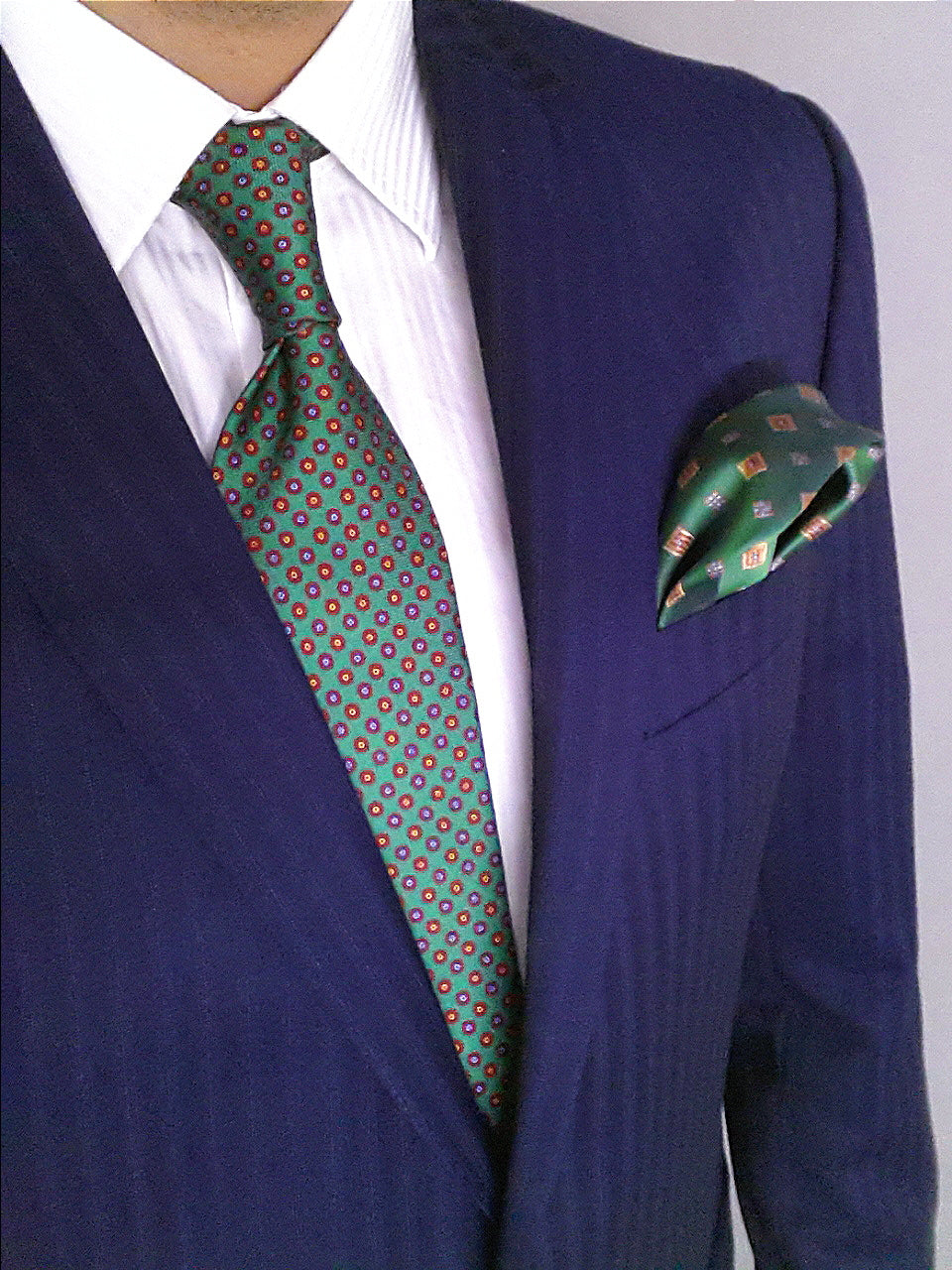 Green Floral Printed Silk Tie | Panah London