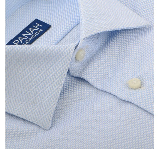 Blue Luxury Basket Weave Shirt Panah London