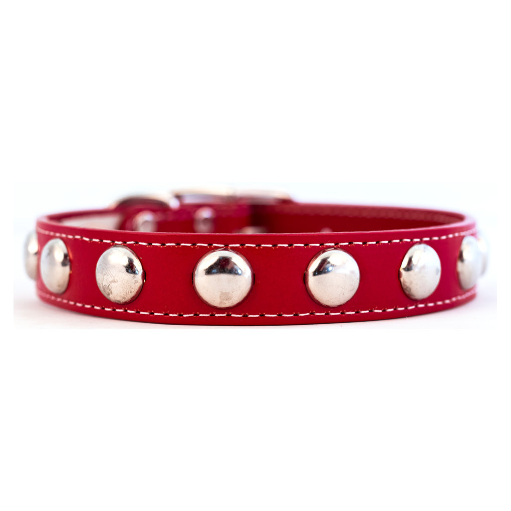 Silver Studded Collar Red