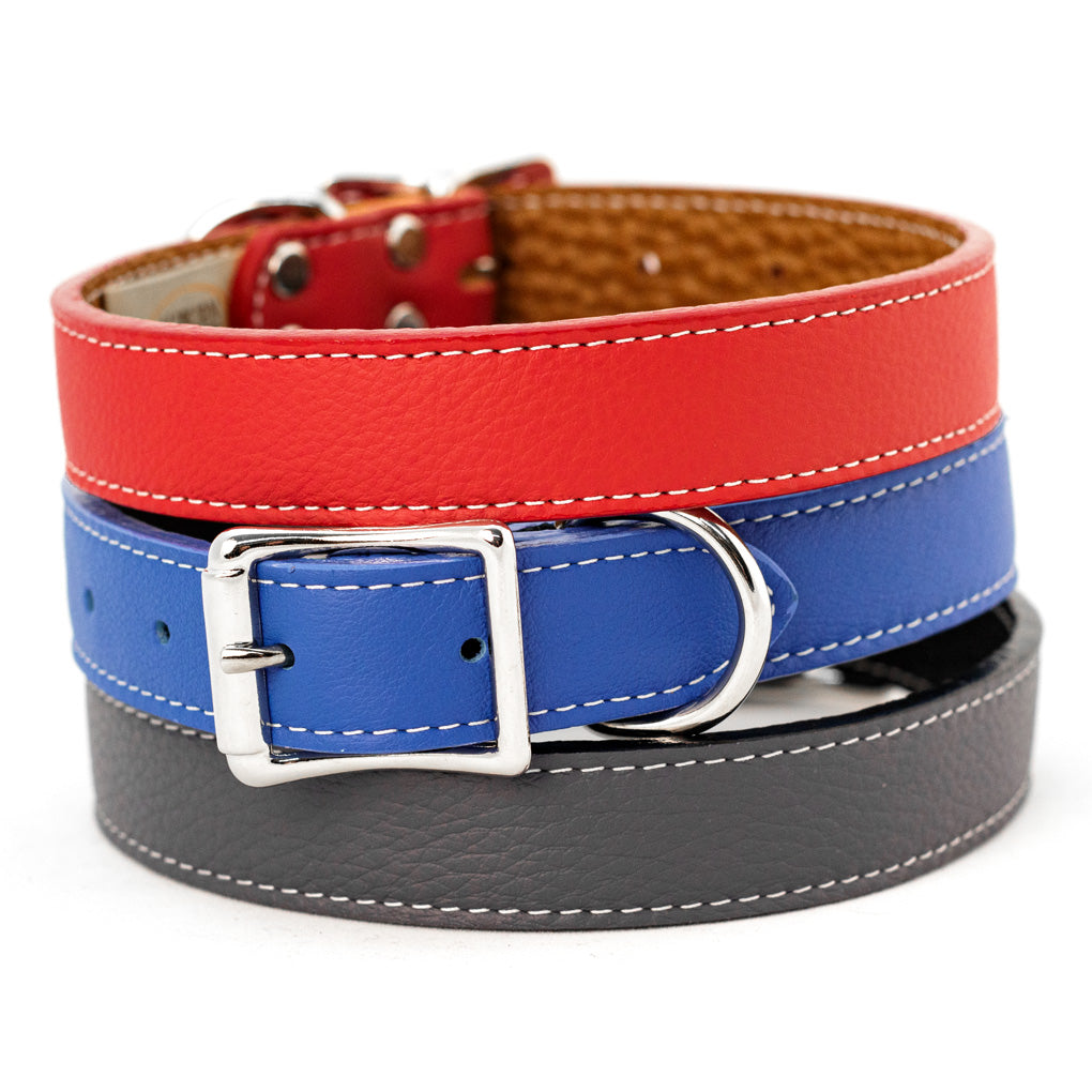 Tuscan Collars Bright Red Cobalt Blue and Slate Grey