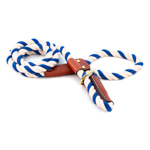Blue and White cotton rope leash