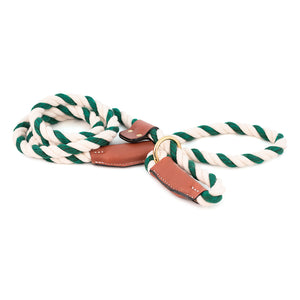 Green and White Cotton Rope slip leash