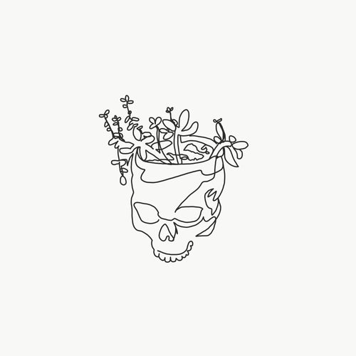 Single Line X Sprouting Skull Print