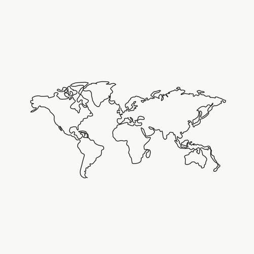 One World Single Line Print