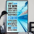 (cv1142) LHD Swimming poster - I don't swim to win competitions
