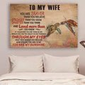(cv925) QH turtle Poster - to wife - you are my sunshine vs1